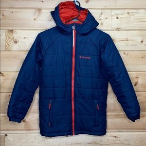 Columbia Blue Orange Puffer Jacket Medium